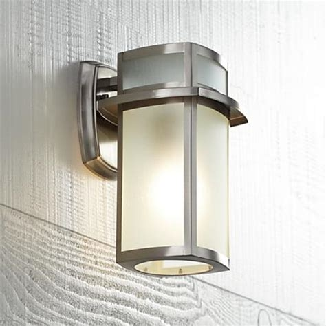 brushed nickel exterior lights brushed nickel frosted glass 11 1 4 quot high outdoor wall