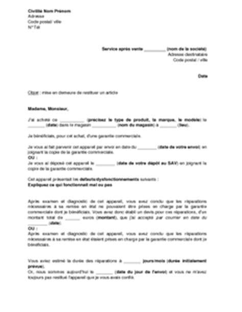 Modèle De Lettre De Mise En Demeure Restitution Caution Lettre Mise En Demeure Non Restitution Caution Document