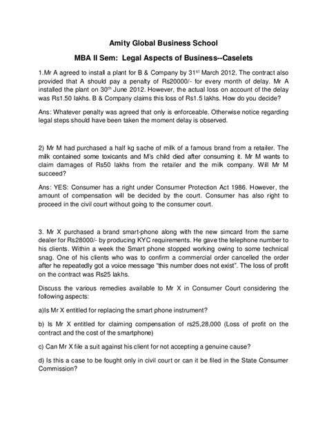 Business Legislation Mba by Business Answers For 75 Questions