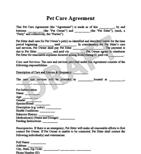 Pet Care Agreement Create A Free Pet Care Agreement Form Pet Contract Template