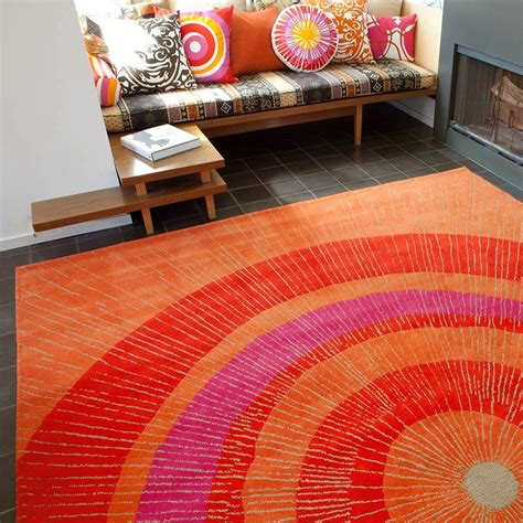 not neutral rugs eccentric area rug in orange and by not neutral