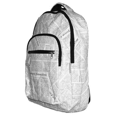 Newspaper Design Print Backpack rucksack tyvek 174 newspaper print design bo borsa