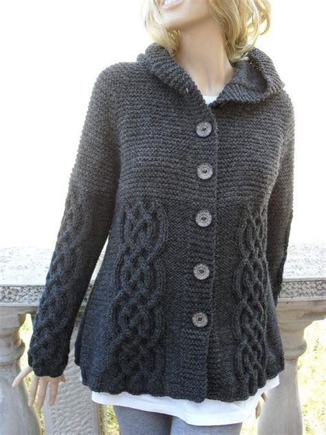 knit jacket knit sweater womens cable knit jacket cardigan grey