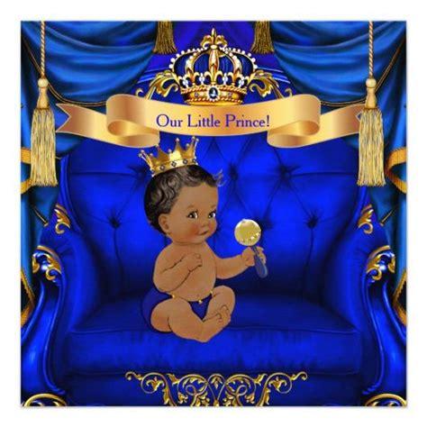 prince ethnic background ethnic baby shower boy prince royal blue gold card