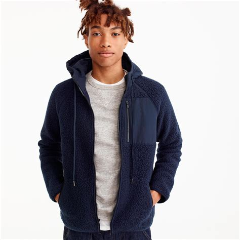 Polar Fleece Hoodie lyst j crew polartec fleece hoodie in blue for