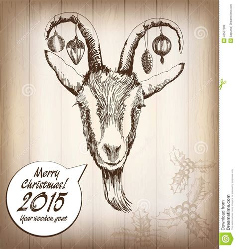 new year wood goat year wooden goat stock vector image 46557209