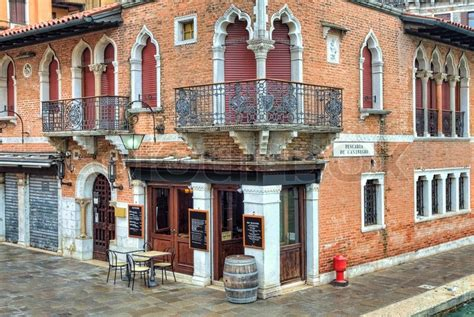 houses in venice italy corner view on traditional red brick venetian house on