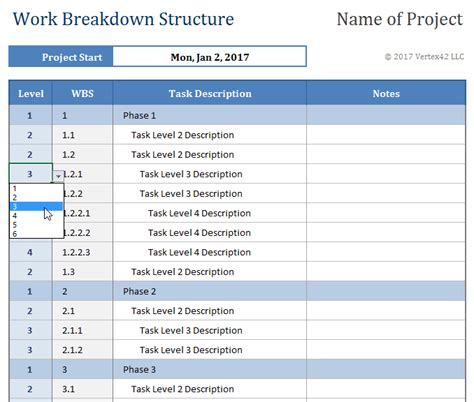 breakdown template work breakdown structure template