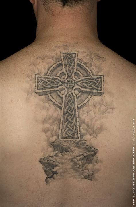 cross tattoos on back for men inked up celtic cross tattoos