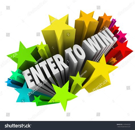 Money Winning Contests - the words enter to win in a starburst of colorful fireworks to illustrate entering or