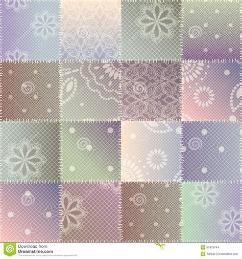 Patchwork Pattern Fabric - patchwork of lace fabric stock vector image 51475744