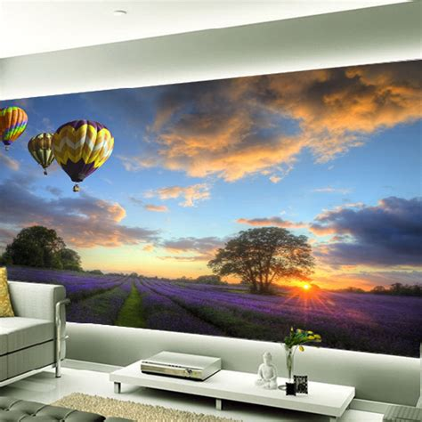Home Decor Wall Murals 3d Lavender Mural Wallpaper Air Balloon Wall Murals Print Decals Home Decor Photo