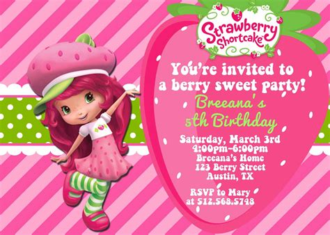 Strawberry Shortcake Invitation Template by Strawberry Shortcake Invitations Template Free Www