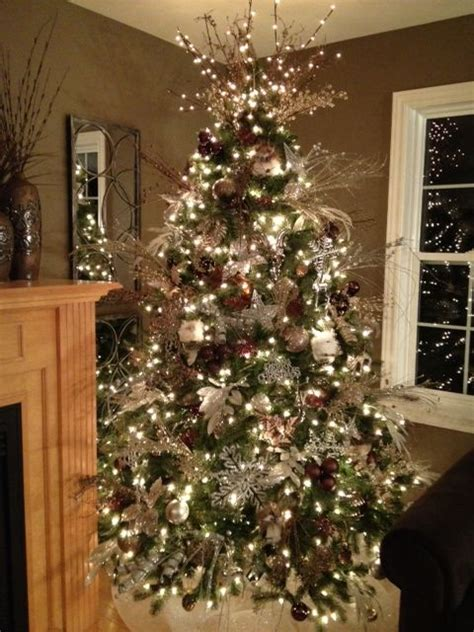 silver brown chagne christmas tree christmas