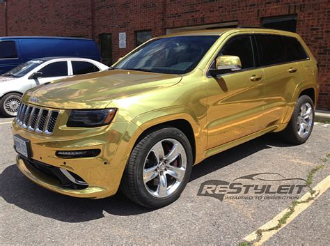 gold jeep grand 2014 2014 jeep grand srt8 wrapped in gold chrome