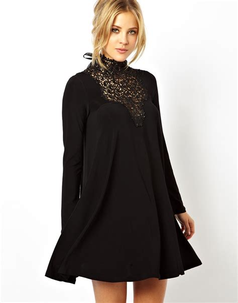 dress swing asos lace insert swing dress in black lyst