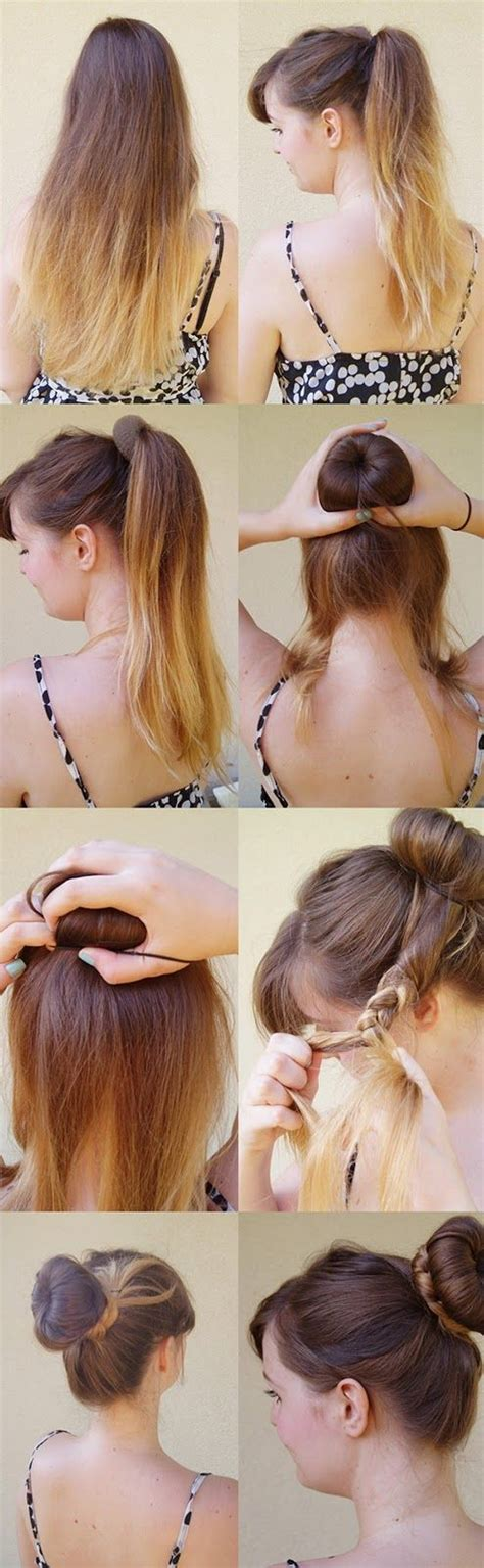 how to back your braids in doughnut bun by the sife nothin fancy really easy hairstyle tutorial the