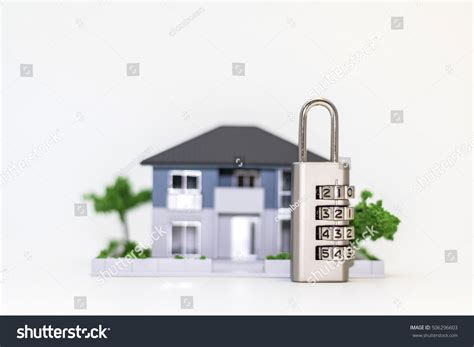 number padlock front house figure home stock photo