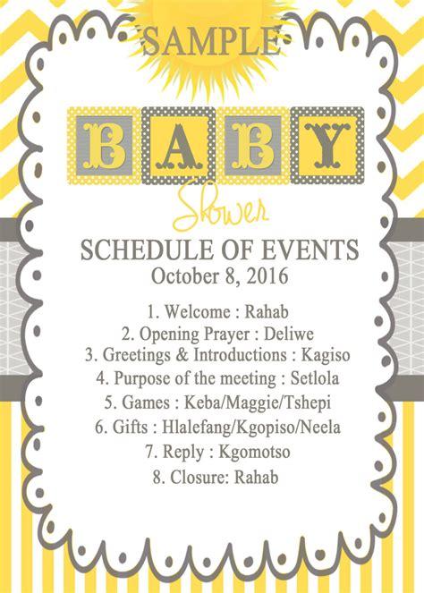 Baby Shower Schedule Of Events baby shower schedule of events wedding