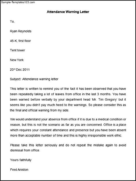 Apology Letter To For Poor Attendance Attendance Warning Letter Template Sle Templates
