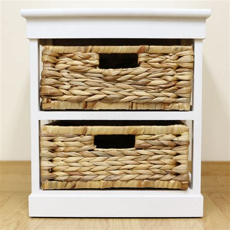 Seagrass Bathroom Storage White 2 Drawer Basket Bedside Cabinet Home Storage Unit Lounge Bathroom Seagrass Ebay
