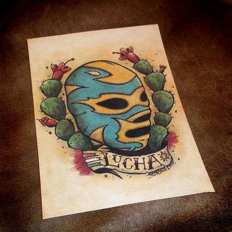 traditional mexican tattoos mexican lucha libre traditional style print 5x7