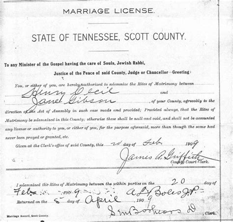 Tennessee Marriage Records State Of Tennessee Marriage License Pictures To Pin On