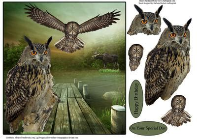 Owl Decoupage - owls in nature topper with decoupage cup548807 1865