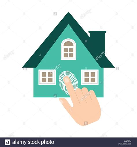home security system fingerprint vector illustration eps