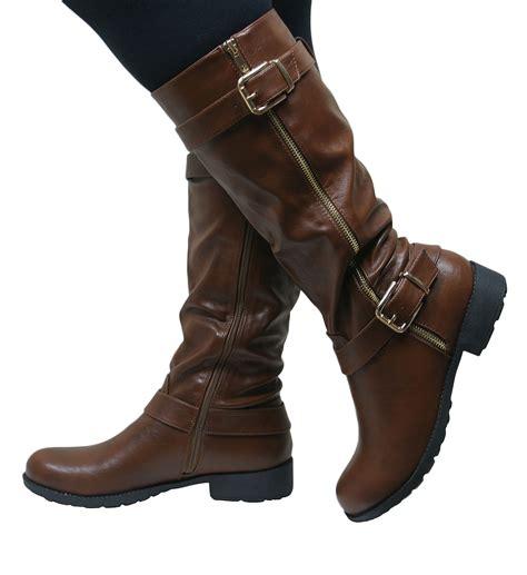 knee high low heel boots womens knee high flat low chunky heel wide fit biker