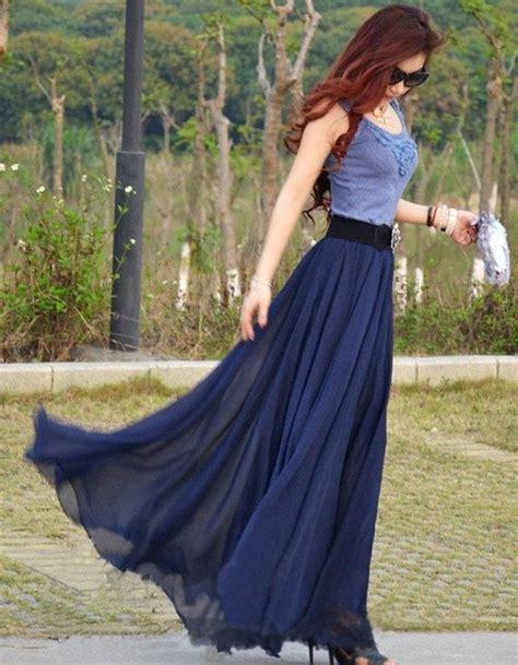 womens navy blue silk chiffon 8 meters of skirt
