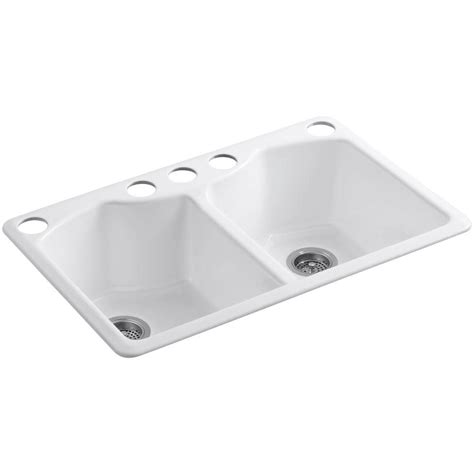 Kohler Kitchen Sink Parts Kohler Bellegrove Undermount Cast Iron 33 In 5 Bowl Kitchen Sink With Accessories