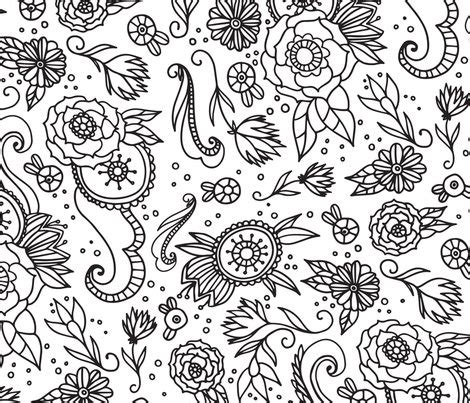 coloring book fabric coloring book floral fabric printablecrush spoonflower