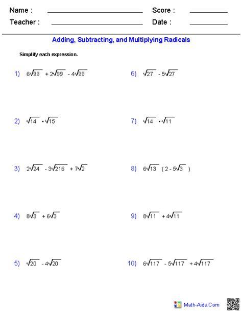Radical Operations Worksheet algebra 2 worksheets radical functions worksheets