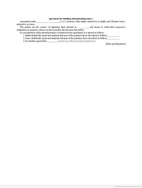 Sle Printable Agreement For Building And Maintaining Fence Form Sle Real Estate Forms Fence Warranty Template