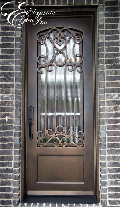 wrought iron door  eyebrow arch grille single doors