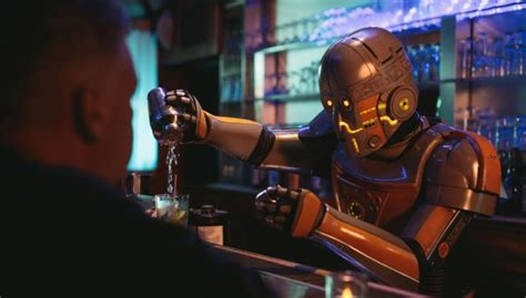 film robot année 80 robot bartender struggles with asimov s laws in this