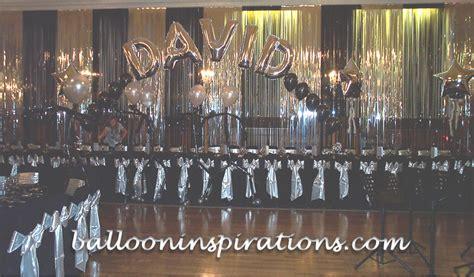 black silver decorations themed bat mitzvah decorations