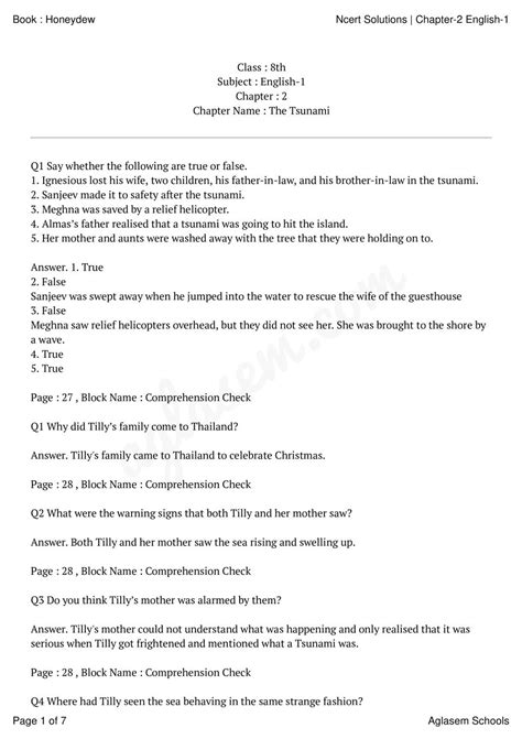 Comprehension Passages For Grade 8 With Questions And