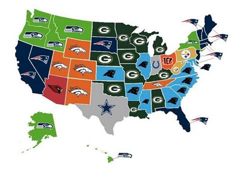 map usa nfl teams map shows which nfl team each state thinks will win this