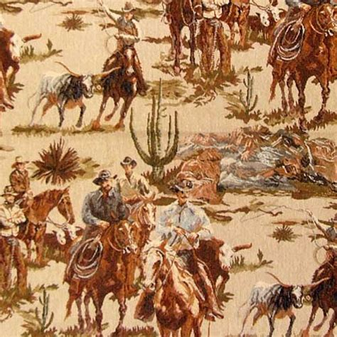 western themed upholstery fabric cowboy round up scenic tapestry fabric rustic western