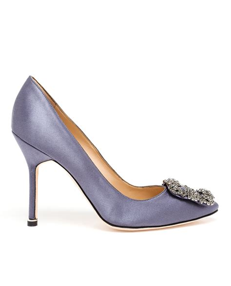 Manolo Blahnik Poppy Heels by Lyst Manolo Blahnik Hangisi Embellished Satin Pumps In Gray