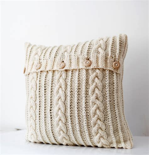 Handmade Decorative Pillows - cable knitted pillow wool cover milk white decorative