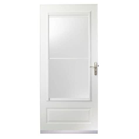 Self Storing Door by 34 In X 80 In 400 Series White Aluminum Self Storing