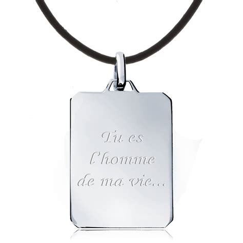 bijoux à graver collier rectangle homme tu es l homme argent cuir marron gravure en vogue