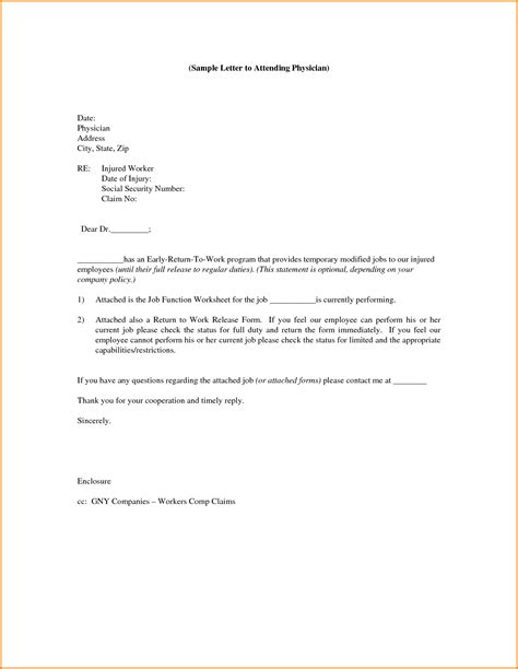 return to work notice template 7 sle return to work letter from doctor