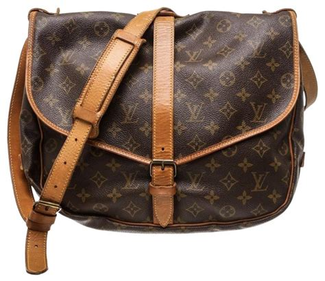louis vuitton saumur canvas  silver monogram leather