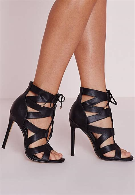 black gladiator high heels cut out lace up gladiator heels black missguided