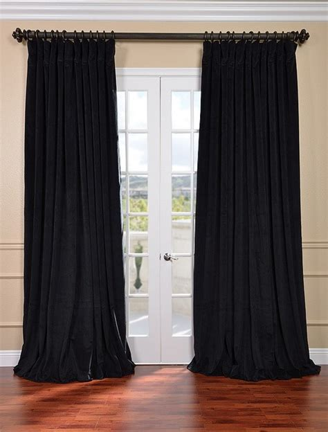 double wide curtain panels signature black double wide velvet blackout pole pocket