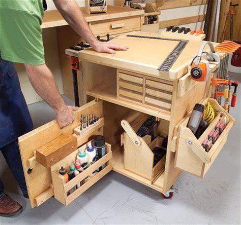 tool bench organization rolling tool cart basement storage werkstatt